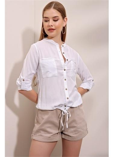 Butikburuç Gömlek Beyaz